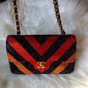 Authentic Vintage Chanel Double Flap Swarovski Bag